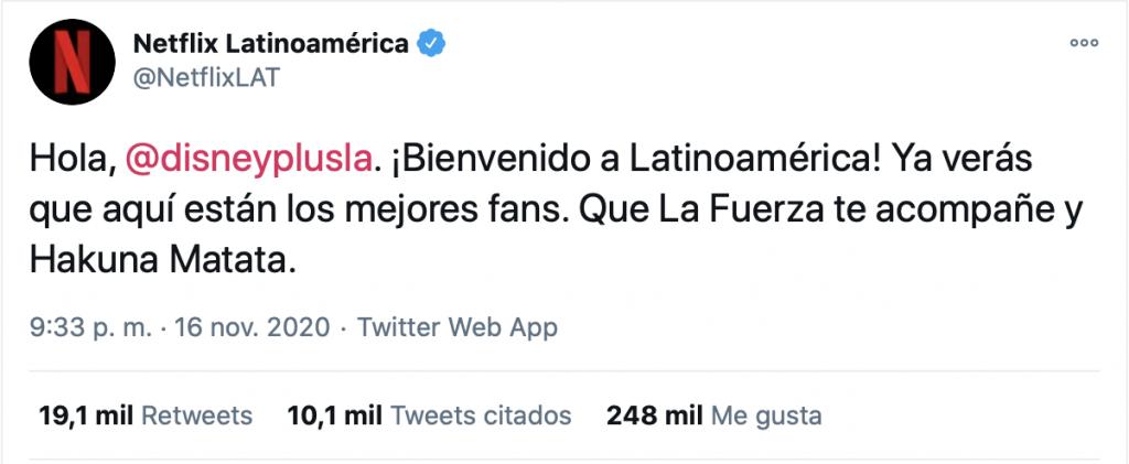 Tweet de bienvenida de Netflix a Disney