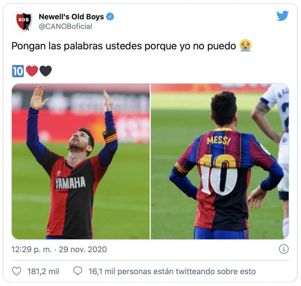 Tweet de Newell's sobre el homenaje de Messi
