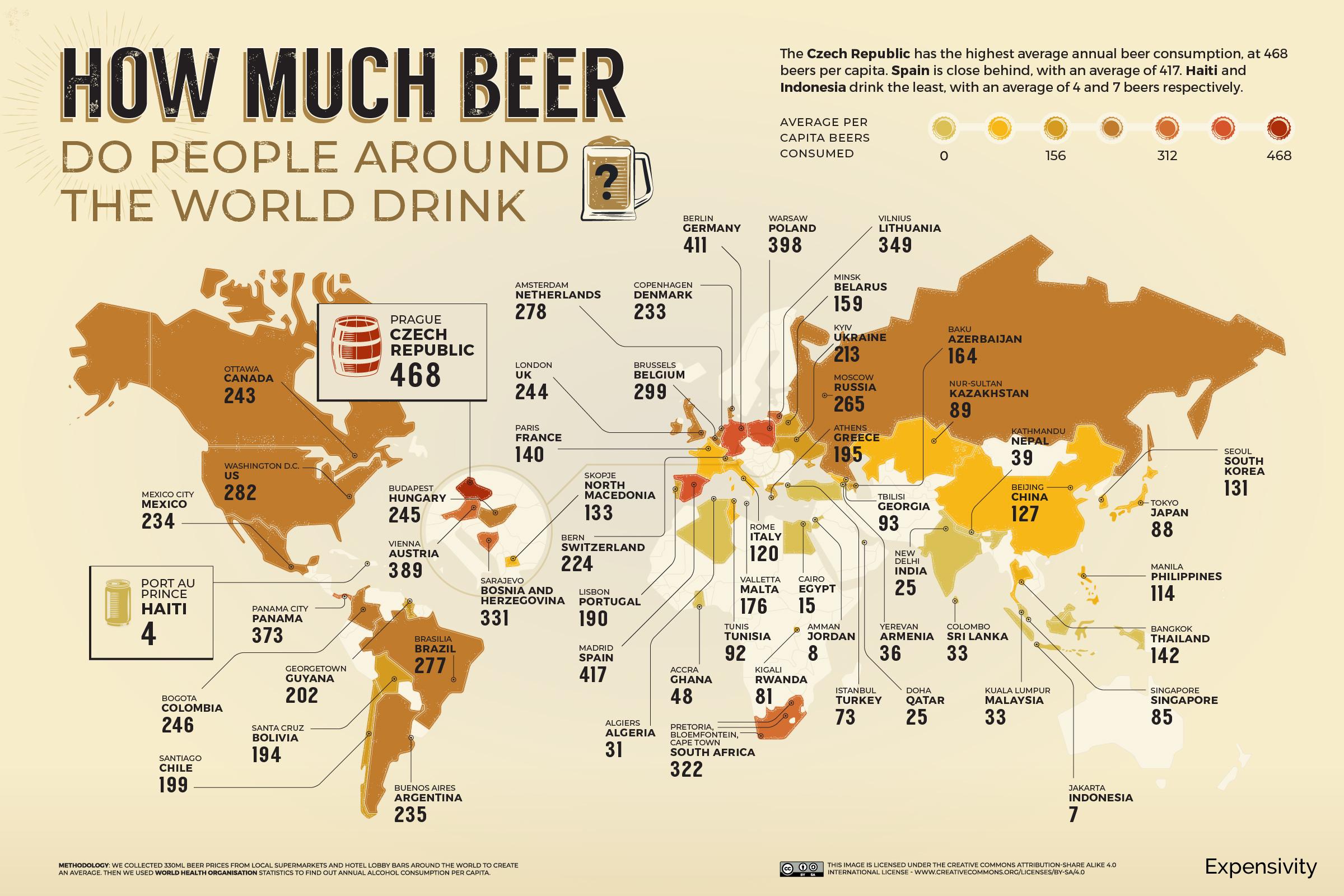 Mapa consumo de la cerveza en el mundo