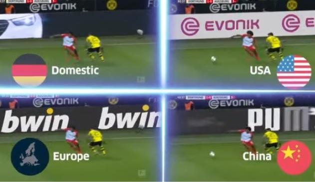 publicidad con realidad aumentada en un partido de futbol.